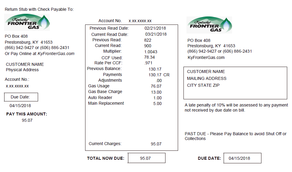 screenshot of kfg sample bill